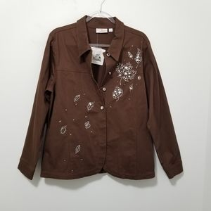 QUAKER FACTORY Jacket NEW Rhinestones Pearls Large